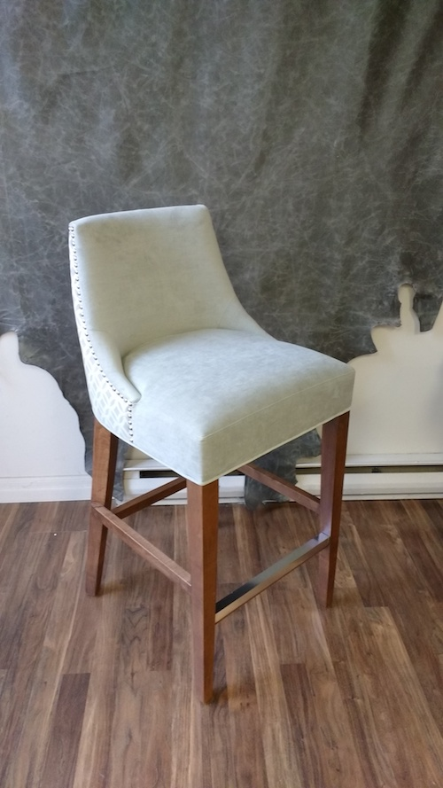 Upholstery Toronto's Designer Off White Fabric Bar Stool